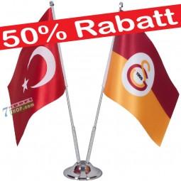 Galatasaray und Türkei Tischfahne mit Ständer verchromt